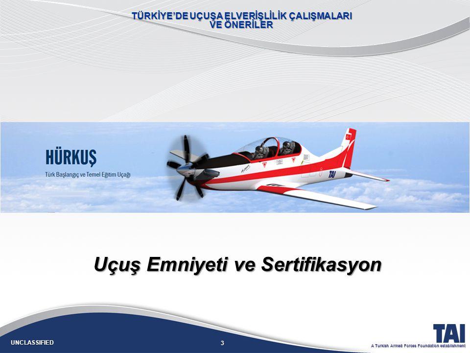14 UNCLASSIFIED A Turkish Armed Forces Foundation establishment OrganizasyonFirmaOrganizasyon Onayı KapsamOtorite Tasarım TAITOYOERCİYESSSM/Hv.K.K.lığı DOAHÜRKUŞEASA THY-TEKNİKDOABüyük Değişiklik EASA TSIA-DOAEkipmanEASA Üretim TAIPOAC2EASA SELEXPOAC2EASA TOYO: Tasarım Organizasyonu Yeterlilik OnayıTOYO: Tasarım Organizasyonu Yeterlilik Onayı DOA: Tasarım Organizasyon OnayıDOA: Tasarım Organizasyon Onayı POA: Üretim Organizasyon OnayıPOA: Üretim Organizasyon Onayı A_DOA: Alternatif Tasarım Organizasyon OnayıA_DOA: Alternatif Tasarım Organizasyon Onayı