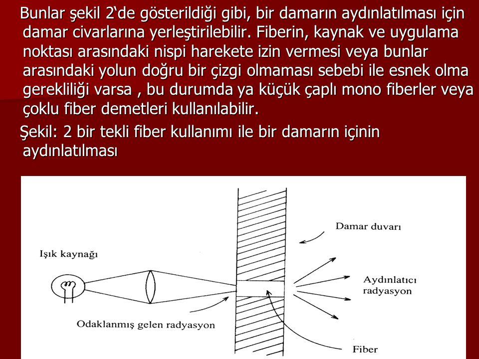 Bunlar şekil 2'de gösterildiği gibi, bir damarın aydınlatılması için damar civarlarına yerleştirilebilir. Fiberin, kaynak ve uygulama noktası arasında