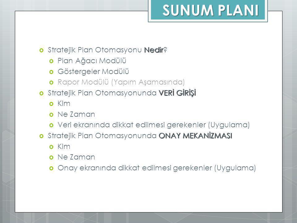 SUNUM PLANI Nedir  Stratejik Plan Otomasyonu Nedir?  Plan Ağacı Modülü  Göstergeler Modülü  Rapor Modülü (Yapım Aşamasında) VERİ GİRİŞİ  Strateji