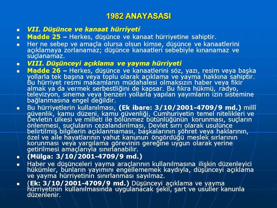 1982 ANAYASASI VII. Düşünce ve kanaat hürriyeti Madde 25 – Herkes, düşünce ve kanaat hürriyetine sahiptir. Her ne sebep ve amaçla olursa olsun kimse,