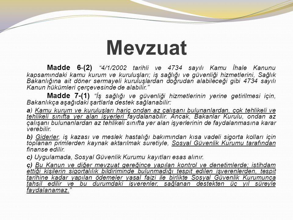 """Mevzuat Madde 6-(2) """"4/1/2002 tarihli ve 4734 sayılı Kamu İhale Kanunu kapsamındaki kamu kurum ve kuruluşları; iş sağlığı ve güvenliği hizmetlerini, S"""
