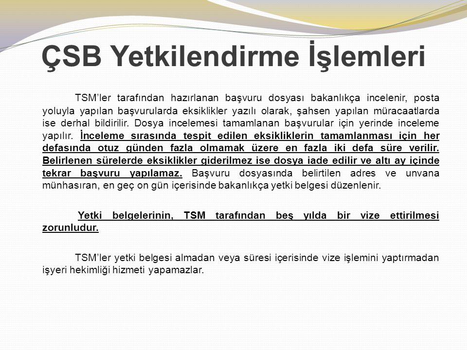 ÇSB Yetkilendirme İşlemleri TSM'ler tarafından hazırlanan başvuru dosyası bakanlıkça incelenir, posta yoluyla yapılan başvurularda eksiklikler yazılı