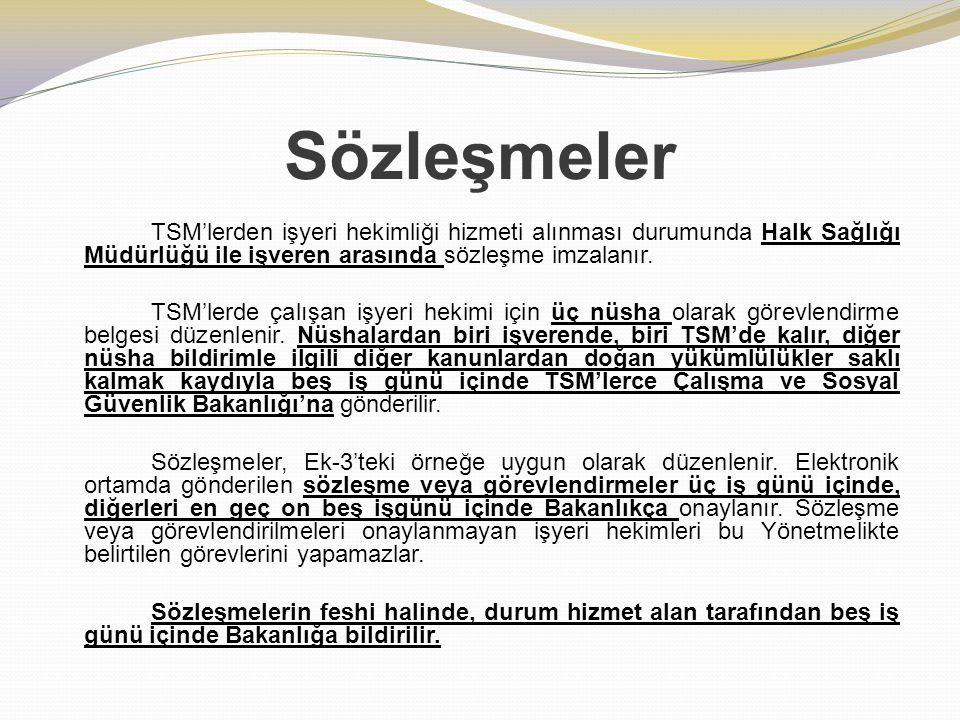 Sözleşmeler TSM'lerden işyeri hekimliği hizmeti alınması durumunda Halk Sağlığı Müdürlüğü ile işveren arasında sözleşme imzalanır. TSM'lerde çalışan i