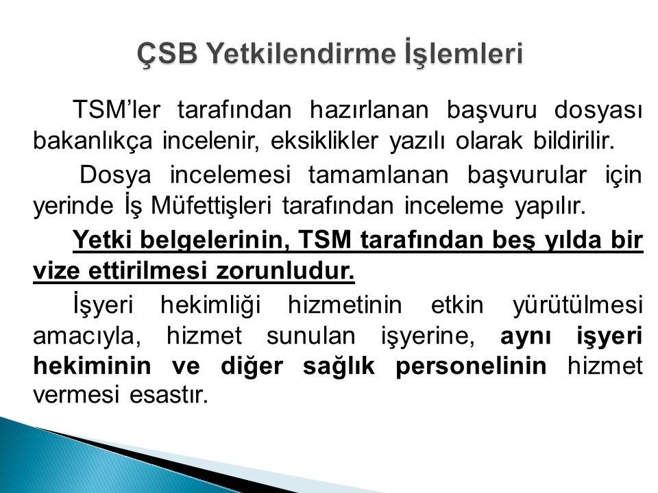 TSM'ler tarafından hazırlanan başvuru dosyası bakanlıkça incelenir, eksiklikler yazılı olarak bildirilir. Dosya incelemesi tamamlanan başvurular için