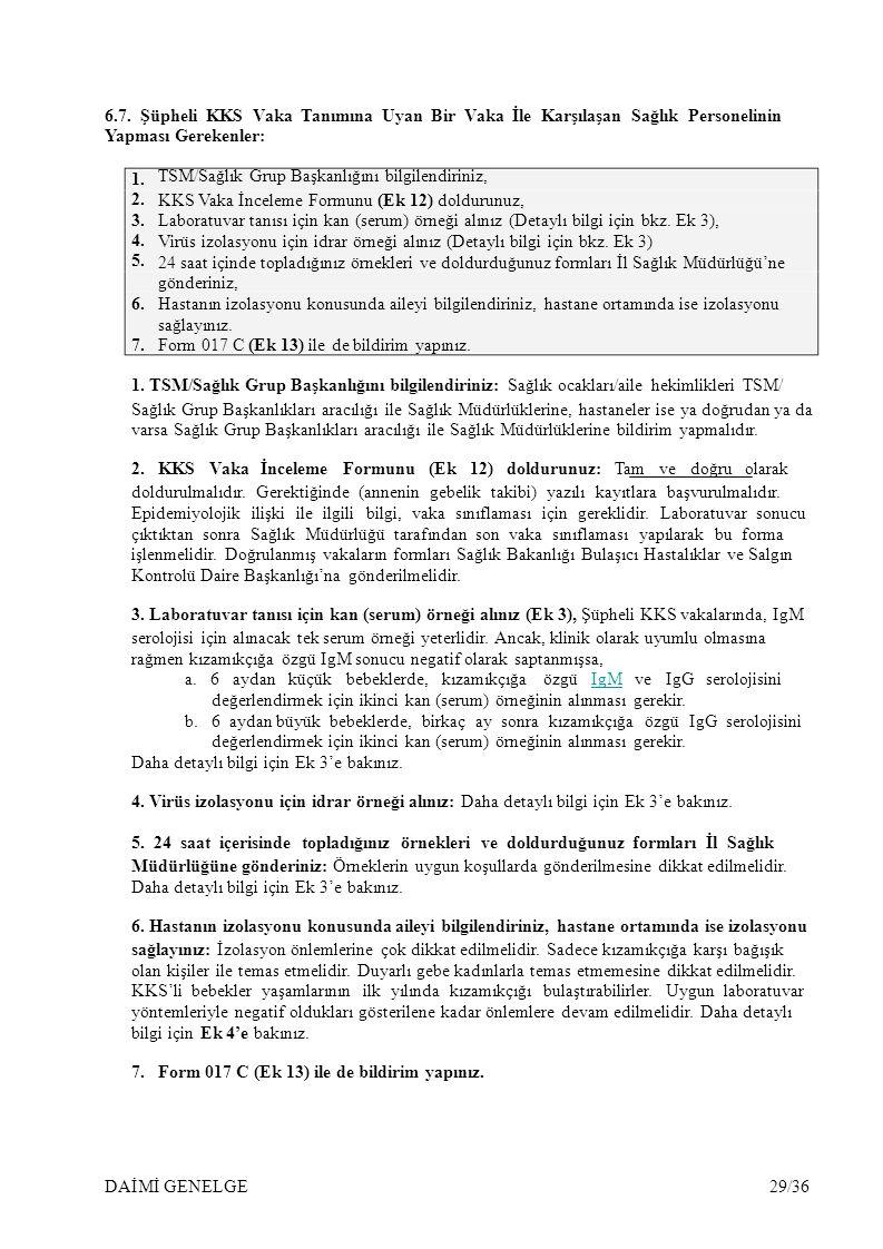 1. 2. 3. 4. 5. 6.7. Şüpheli KKS Vaka Tanımına Uyan Bir Vaka İle Karşılaşan Sağlık Personelinin Yapması Gerekenler: TSM/Sağlık Grup Başkanlığını bilgil