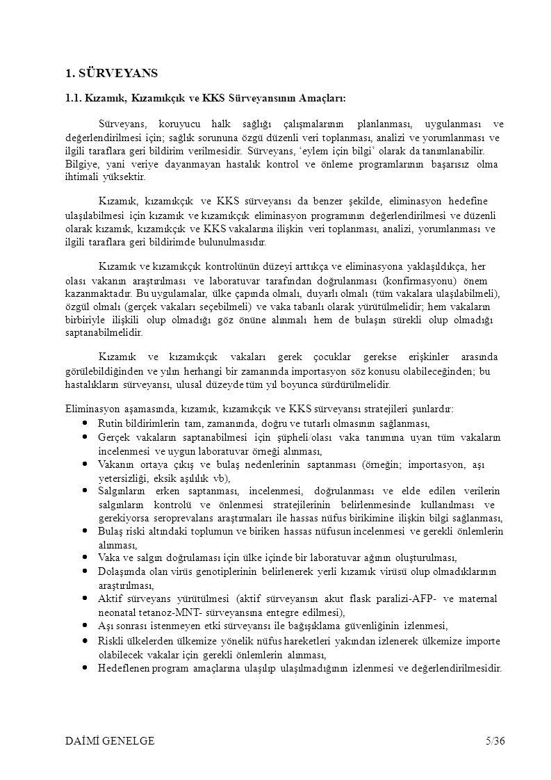 5.KIZAMIK, KIZAMIKÇIK ve KKS SÜRVEYANSI: VAKA TANIMLARI ve SINIFLAMALAR 5.1.