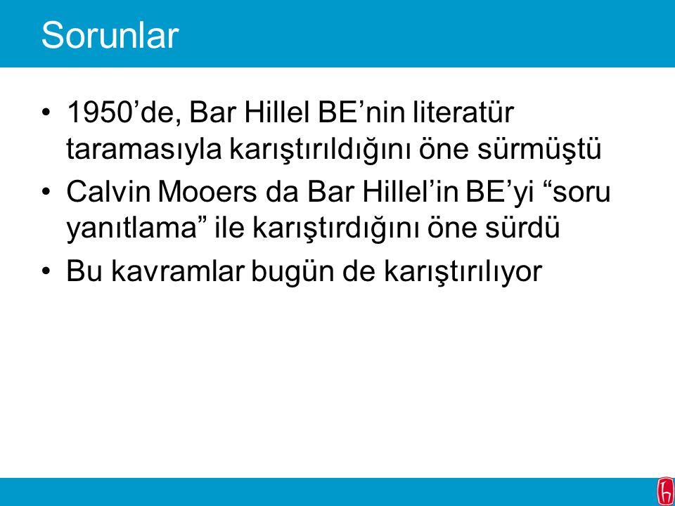 """Sorunlar 1950'de, Bar Hillel BE'nin literatür taramasıyla karıştırıldığını öne sürmüştü Calvin Mooers da Bar Hillel'in BE'yi """"soru yanıtlama"""" ile karı"""