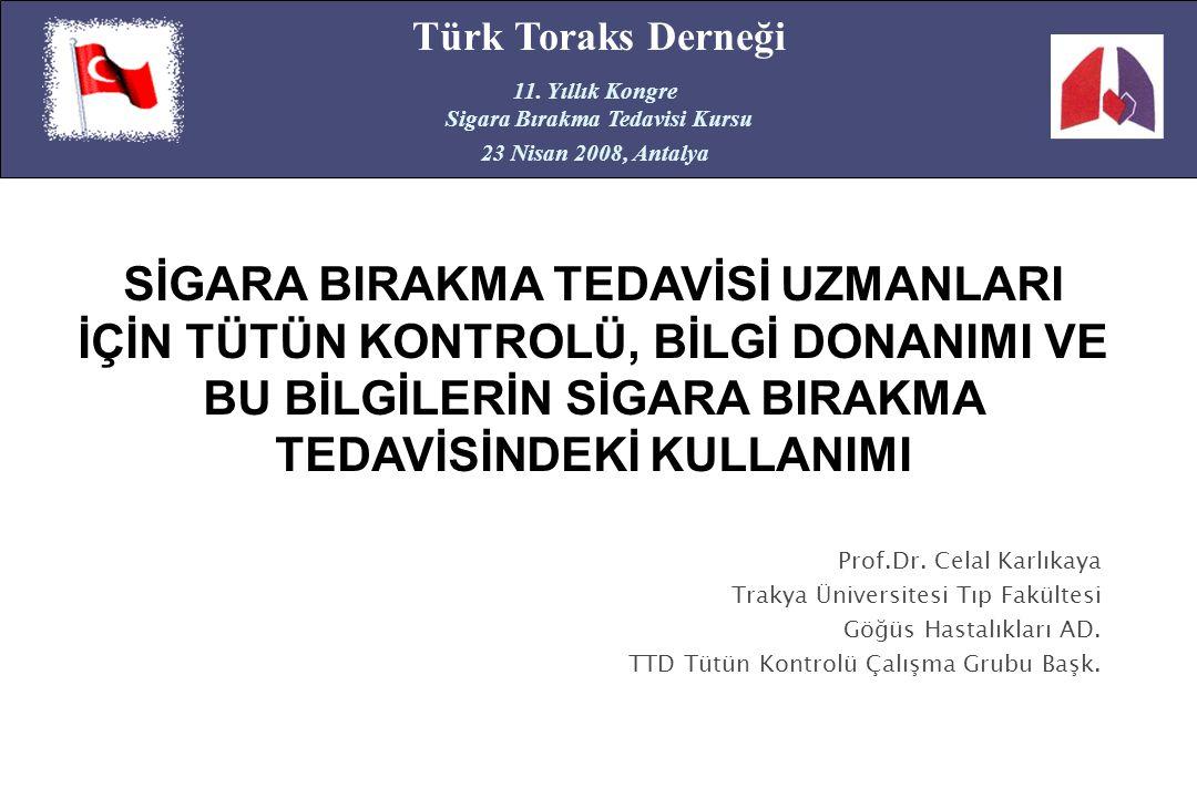 Prof.Dr. Celal Karlıkaya Trakya Üniversitesi Tıp Fakültesi Göğüs Hastalıkları AD. TTD Tütün Kontrolü Çalışma Grubu Başk. Türk Toraks Derneği 11. Yıllı
