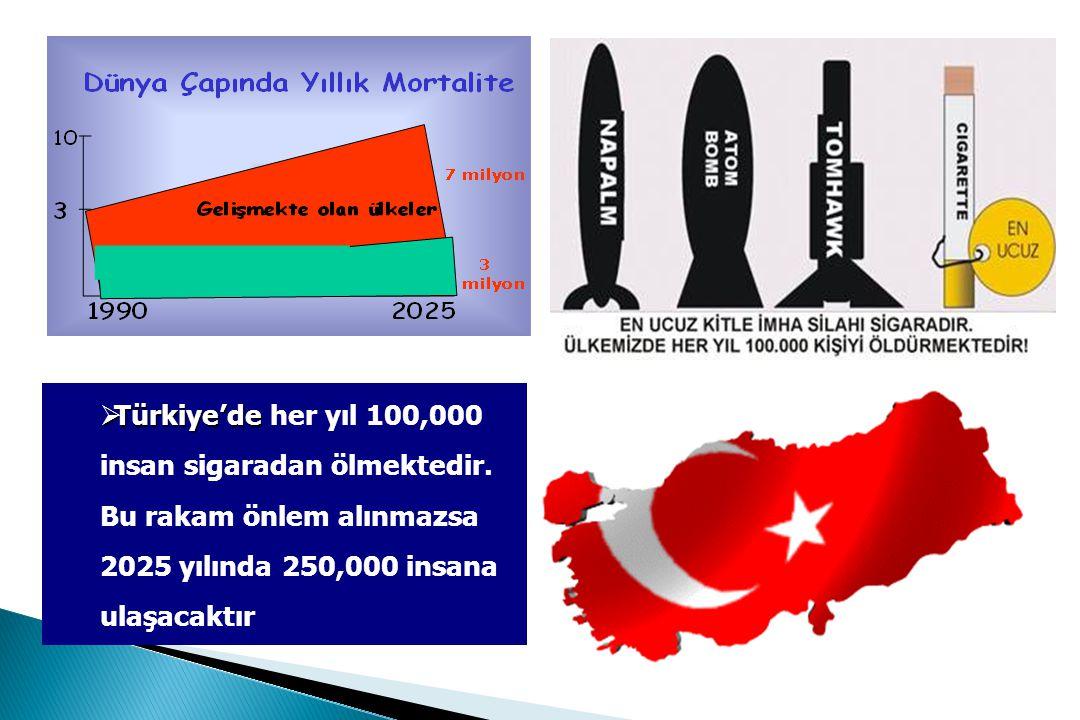  Türkiye'de  Türkiye'de her yıl 100,000 insan sigaradan ölmektedir.