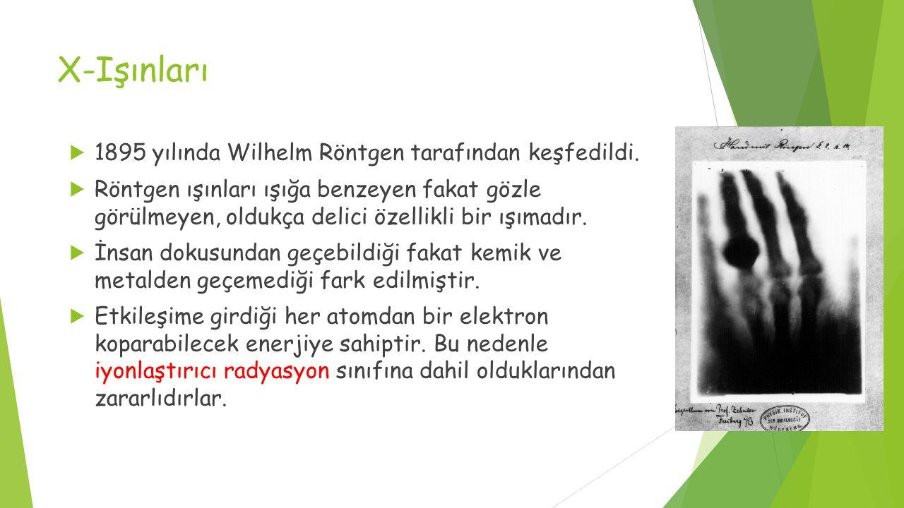 X-Işınları  1895 yılında Wilhelm Röntgen tarafından keşfedildi.  Röntgen ışınları ışığa benzeyen fakat gözle görülmeyen, oldukça delici özellikli bi