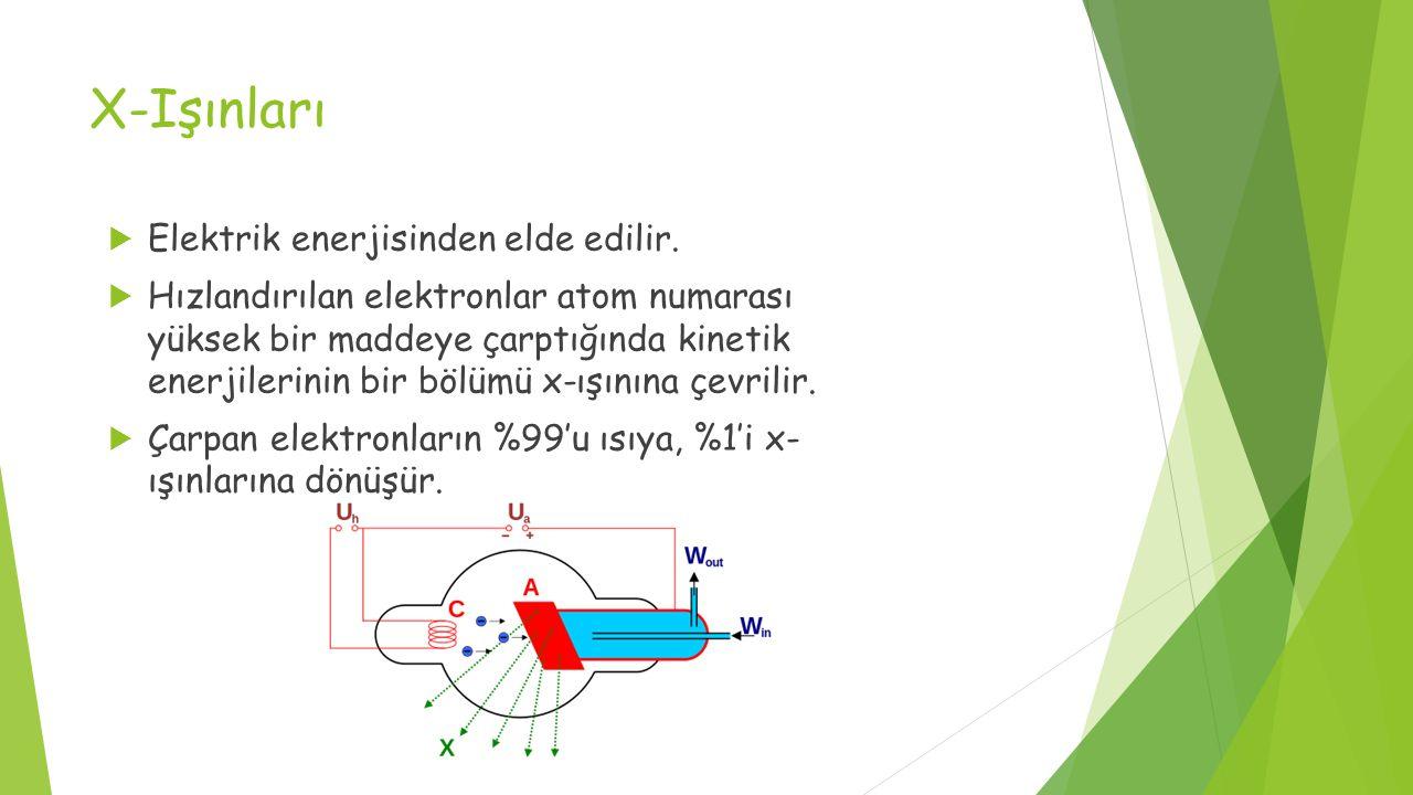 X-Işınları  Elektrik enerjisinden elde edilir.