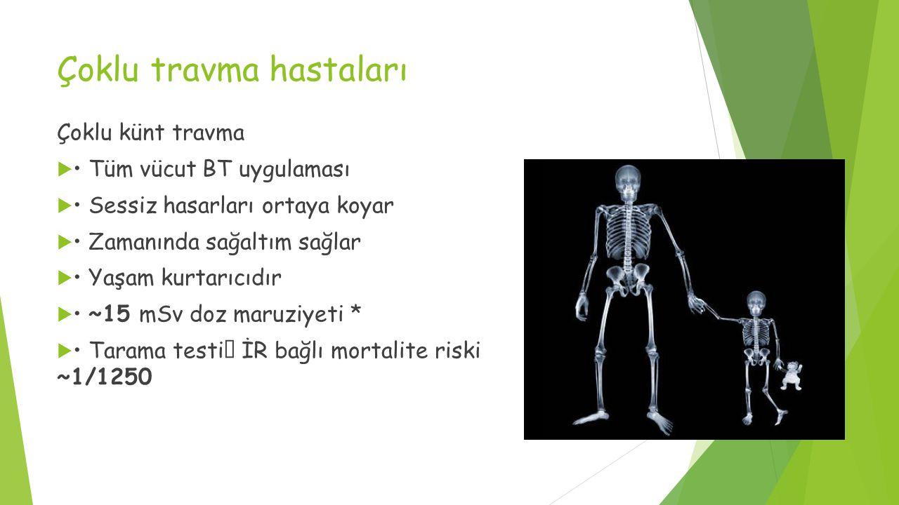 Çoklu travma hastaları Çoklu künt travma  Tüm vücut BT uygulaması  Sessiz hasarları ortaya koyar  Zamanında sağaltım sağlar  Yaşam kurtarıcıdır  ~15 mSv doz maruziyeti *  Tarama testi  İR bağlı mortalite riski ~1/1250