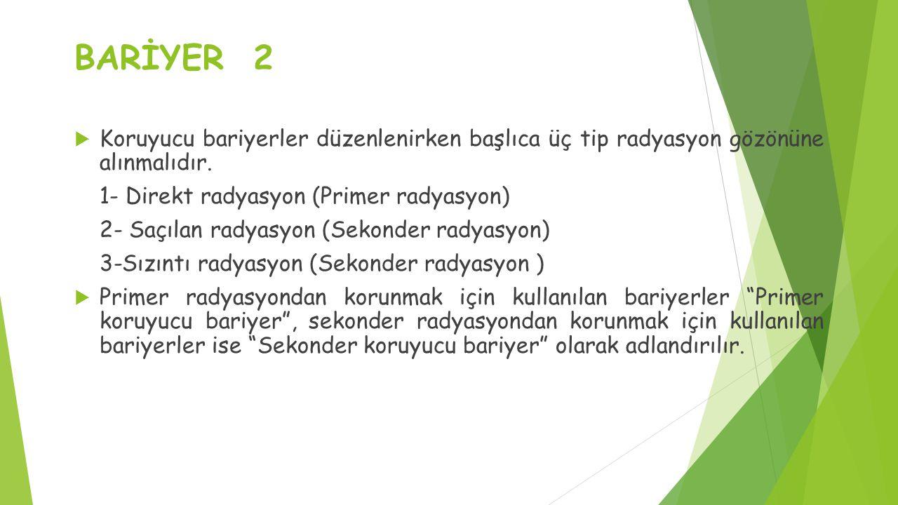 BARİYER 2  Koruyucu bariyerler düzenlenirken başlıca üç tip radyasyon gözönüne alınmalıdır.