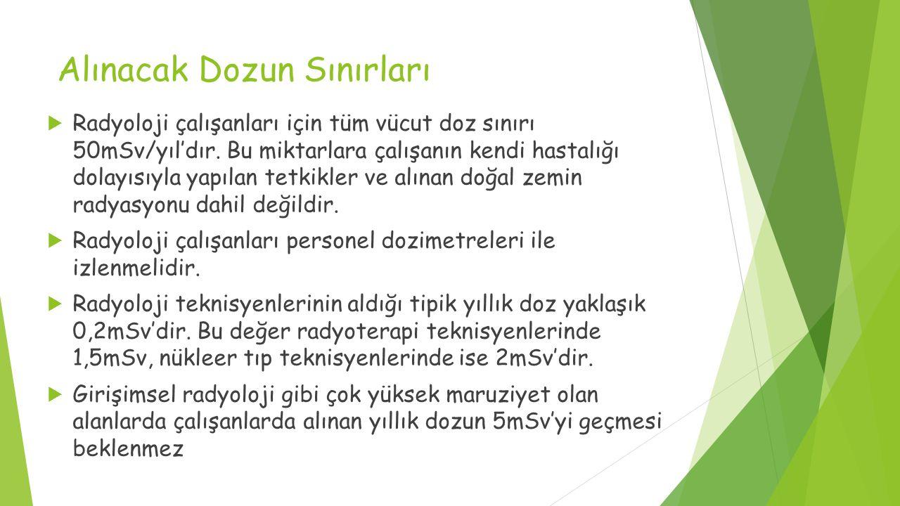 Alınacak Dozun Sınırları  Radyoloji çalışanları için tüm vücut doz sınırı 50mSv/yıl'dır.