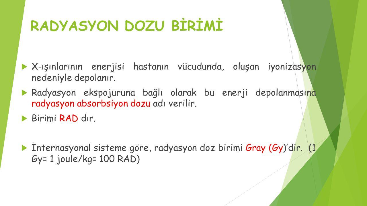 RADYASYON DOZU BİRİMİ  X-ışınlarının enerjisi hastanın vücudunda, oluşan iyonizasyon nedeniyle depolanır.