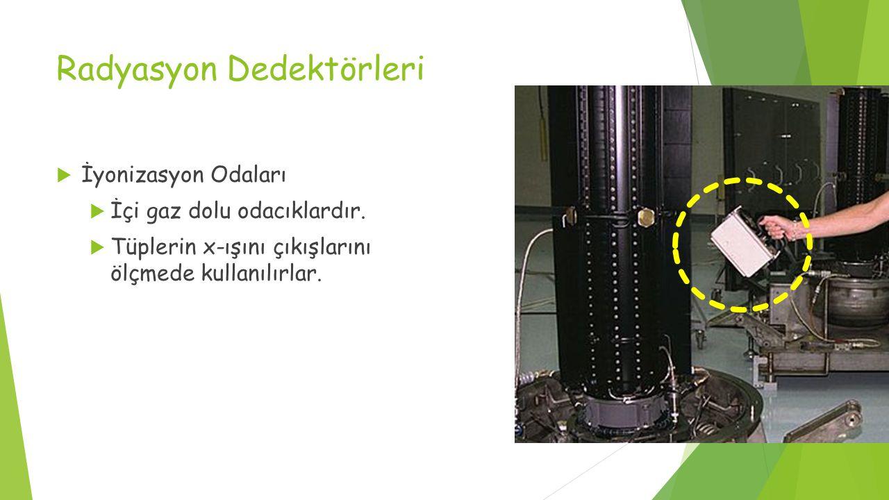 Radyasyon Dedektörleri  İyonizasyon Odaları  İçi gaz dolu odacıklardır.