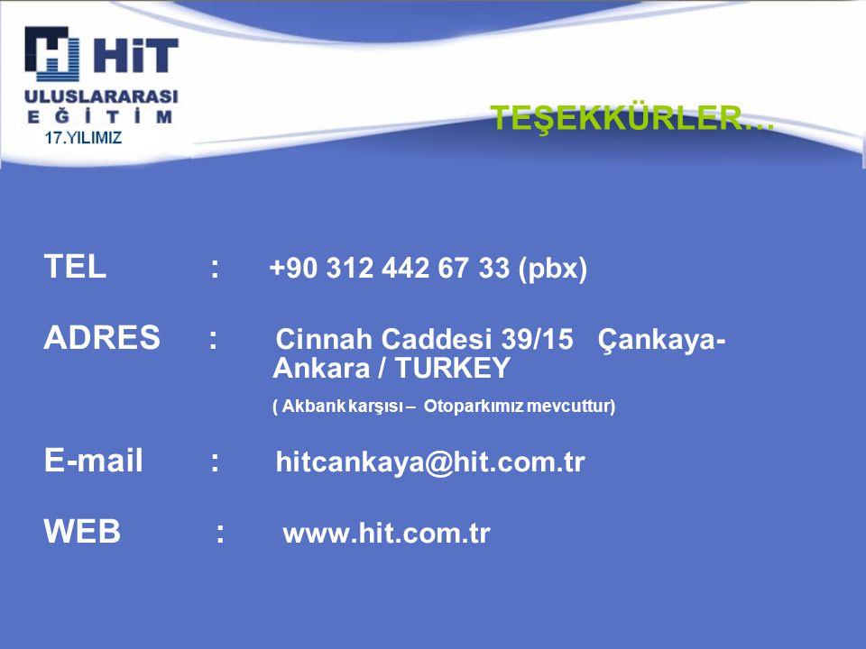 TEL : +90 312 442 67 33 (pbx) ADRES : Cinnah Caddesi 39/15 Çankaya- Ankara / TURKEY ( Akbank karşısı – Otoparkımız mevcuttur) E-mail : hitcankaya@hit.com.tr WEB : www.hit.com.tr TEŞEKKÜRLER…