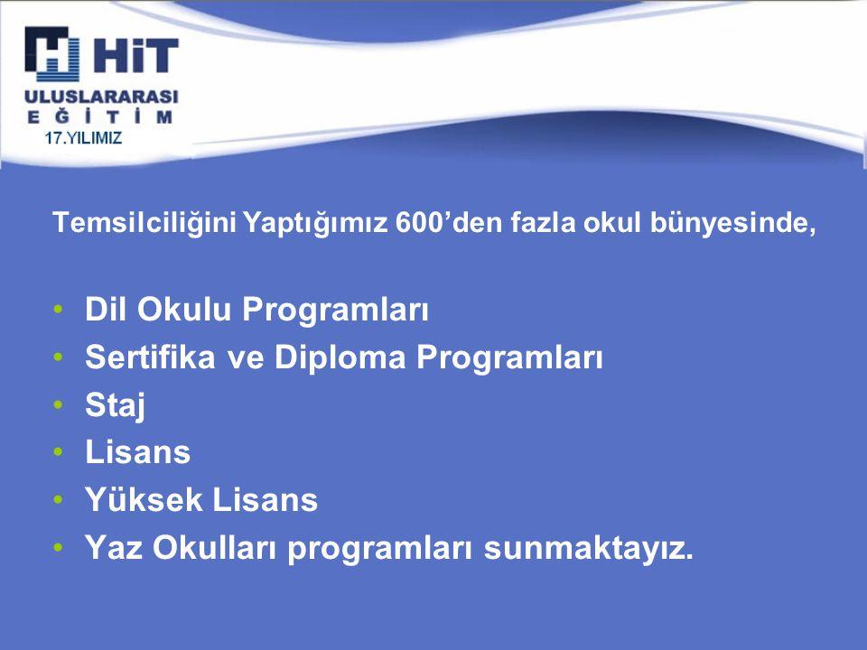 Temsilciliğini Yaptığımız 600'den fazla okul bünyesinde, Dil Okulu Programları Sertifika ve Diploma Programları Staj Lisans Yüksek Lisans Yaz Okulları programları sunmaktayız.