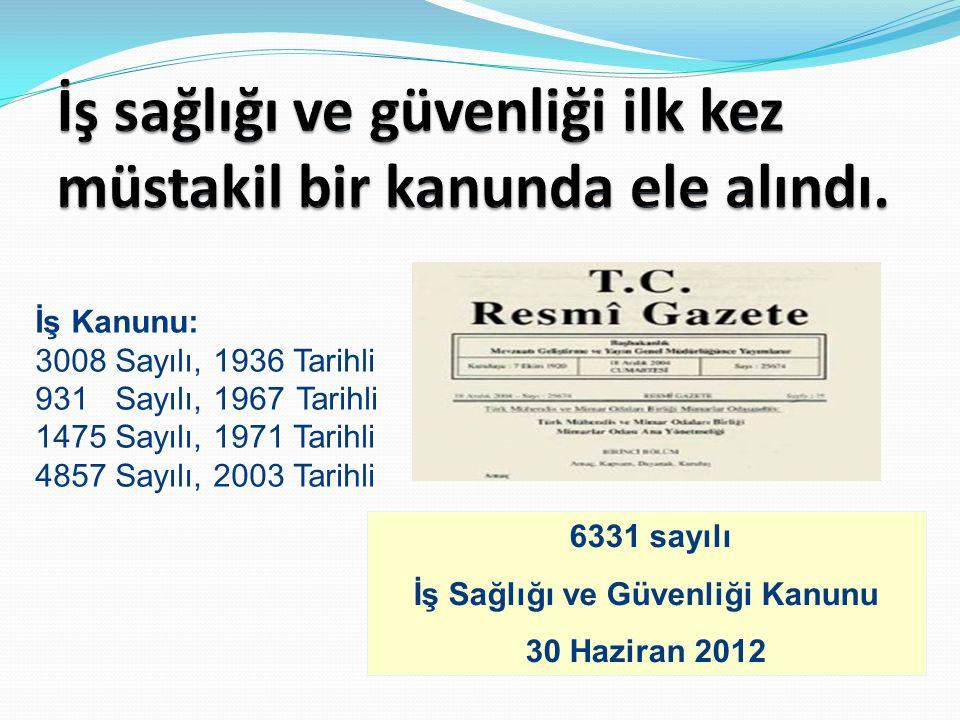 İş Kanunu: 3008 Sayılı, 1936 Tarihli 931 Sayılı, 1967 Tarihli 1475 Sayılı, 1971 Tarihli 4857 Sayılı, 2003 Tarihli 30/06/2012: 6331 sayılı ve tarihli İ