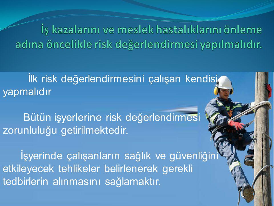 İlk risk değerlendirmesini çalışan kendisi yapmalıdır Bütün işyerlerine risk değerlendirmesi zorunluluğu getirilmektedir. İşyerinde çalışanların sağlı