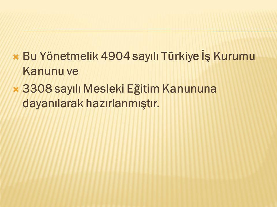  Bu Yönetmelik 4904 sayılı Türkiye İş Kurumu Kanunu ve  3308 sayılı Mesleki Eğitim Kanununa dayanılarak hazırlanmıştır.