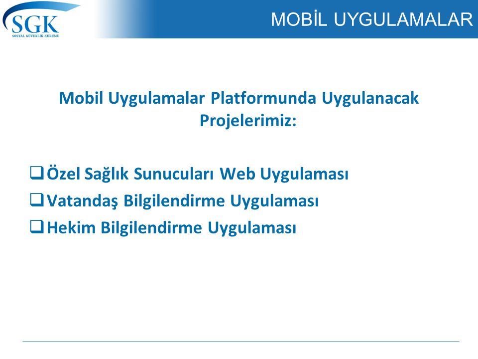 MOBİL UYGULAMALAR Mobil Uygulamalar Platformunda Uygulanacak Projelerimiz:  Özel Sağlık Sunucuları Web Uygulaması  Vatandaş Bilgilendirme Uygulaması