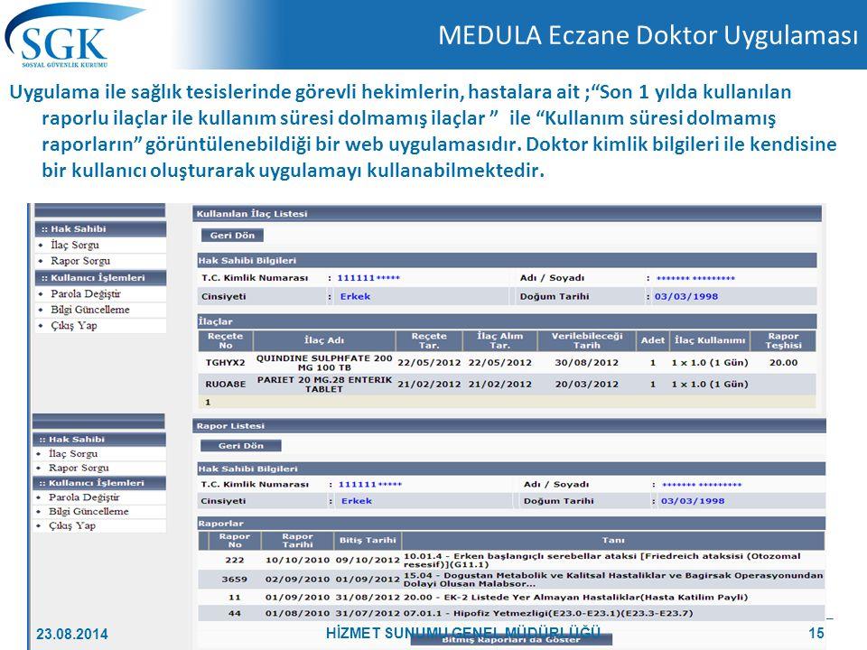 """MEDULA Eczane Doktor Uygulaması Uygulama ile sağlık tesislerinde görevli hekimlerin, hastalara ait ;""""Son 1 yılda kullanılan raporlu ilaçlar ile kullan"""