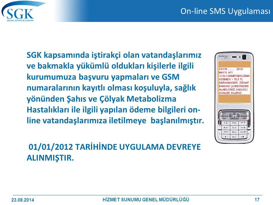 On-line SMS Uygulaması SGK kapsamında iştirakçi olan vatandaşlarımız ve bakmakla yükümlü oldukları kişilerle ilgili kurumumuza başvuru yapmaları ve GS