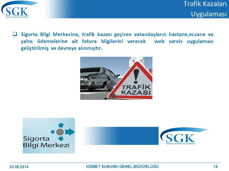 Trafik Kazaları Uygulaması  Sigorta Bilgi Merkezine, trafik kazası geçiren vatandaşların hastane,eczane ve şahıs ödemelerine ait fatura bilgilerini v