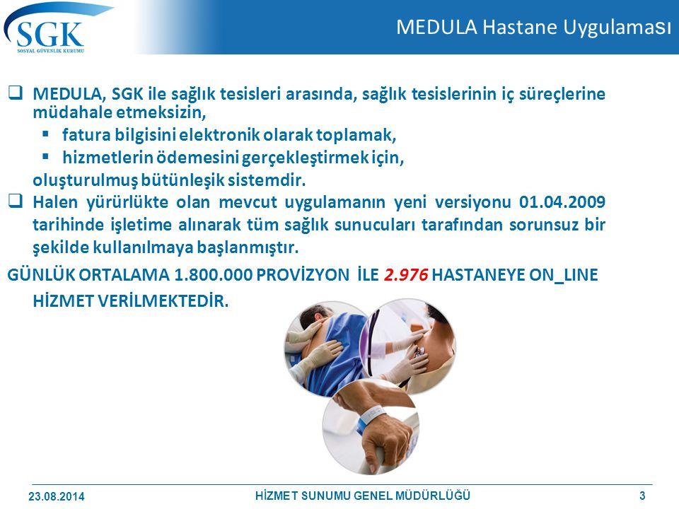 MEDULA Hastane Uygulama sı  MEDULA, SGK ile sağlık tesisleri arasında, sağlık tesislerinin iç süreçlerine müdahale etmeksizin,  fatura bilgisini ele