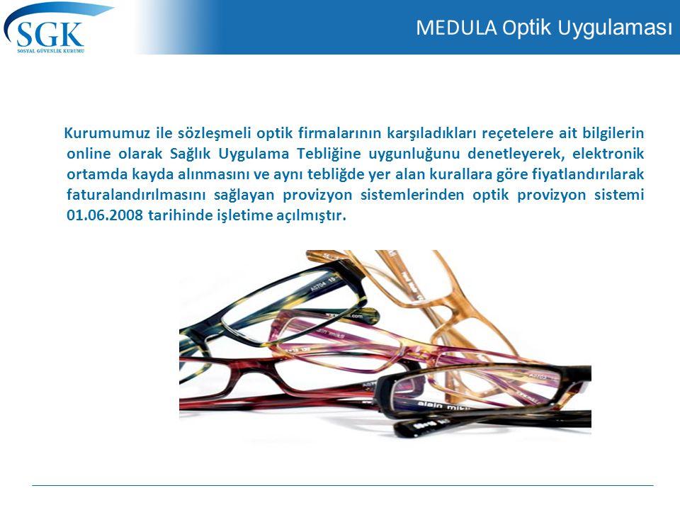 MEDULA Optik Karekod Uygulaması Gözlük cam ve çerçevelerindeki kayıp ve kaçakları önlemek amacıyla, TİTUBB'a kayıtlı malzemelerin MEDULA-Optik Provizyon Sistemine entegrasyonu sağlayacak uygulama tamamlanmış olup, 1.07.2012 tarihinde devreye alınmıştır.