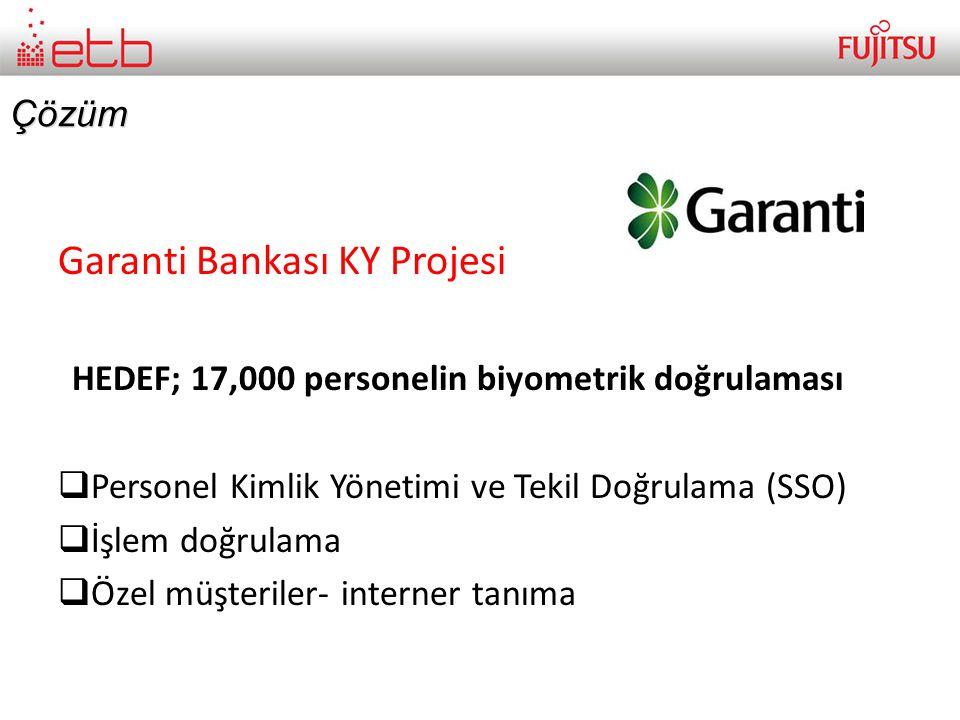 Çözüm Garanti Bankası KY Projesi HEDEF; 17,000 personelin biyometrik doğrulaması  Personel Kimlik Yönetimi ve Tekil Doğrulama (SSO)  İşlem doğrulama