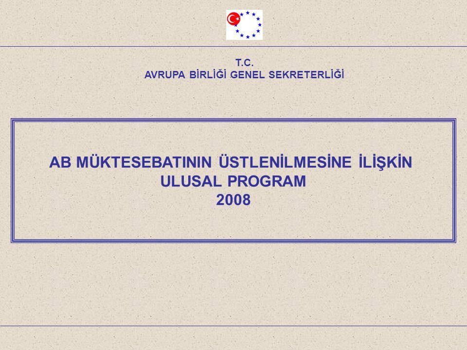 AB MÜKTESEBATININ ÜSTLENİLMESİNE İLİŞKİN ULUSAL PROGRAM 2008 T.C. AVRUPA BİRLİĞİ GENEL SEKRETERLİĞİ