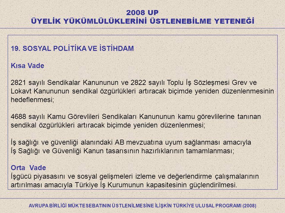 2008 UP ÜYELİK YÜKÜMLÜLÜKLERİNİ ÜSTLENEBİLME YETENEĞİ 19.