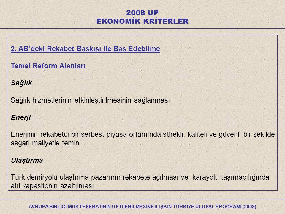 2008 UP ÜYELİK YÜKÜMLÜLÜKLERİNİ ÜSTLENEBİLME YETENEĞİ 33 Tarama Faslı kapsamında kısa vade (1 ila 2 yıl) ve orta vadede (3 ila 4 yıl) yapılması gerekenler aşağıdaki başlıklar itibarıyla verilmiştir: Mevzuat Uyum Takvimi Mevzuatın uyumu ve uygulanması için gerekli kurumsal yapılanma ihtiyaçları takvimi Finansman İhtiyacı ve Kaynakları Kısa ve orta vade dışında: tam üyelik perspektifi çerçevesinde değerlendirme AVRUPA BİRLİĞİ MÜKTESEBATININ ÜSTLENİLMESİNE İLİŞKİN TÜRKİYE ULUSAL PROGRAMI (2008)