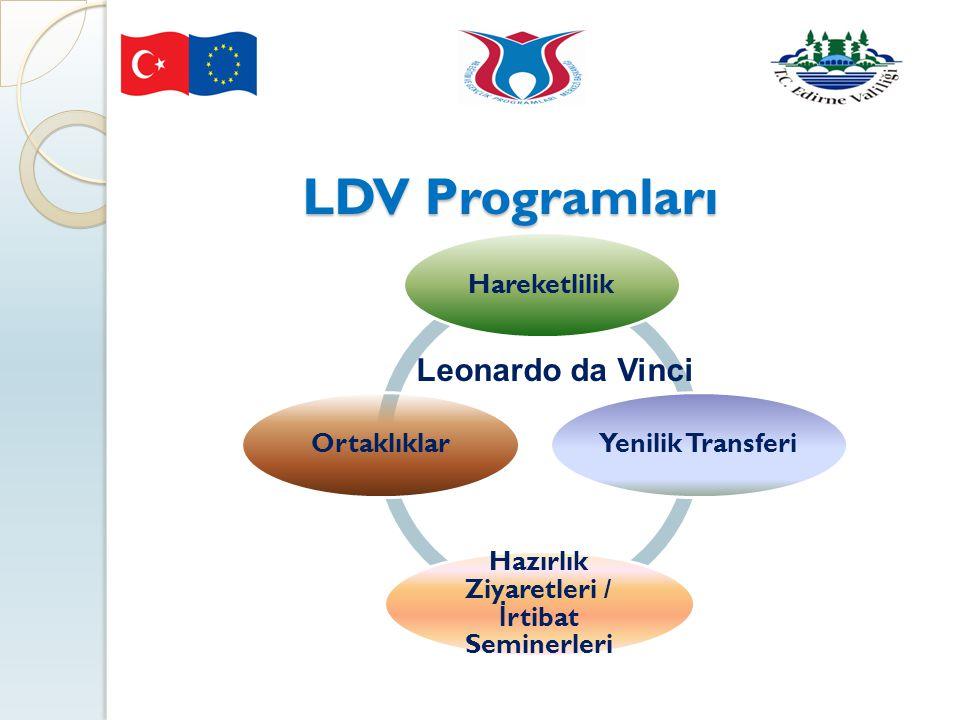 LDV Programları a Vinci HareketlilikYenilik Transferi Hazırlık Ziyaretleri / İ rtibat Seminerleri Ortaklıklar Leonardo da Vinci