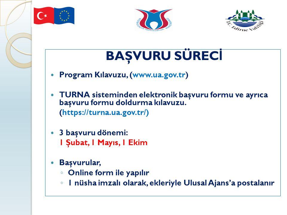 BAŞVURU SÜREC İ Program Kılavuzu, (www.ua.gov.tr) TURNA sisteminden elektronik başvuru formu ve ayrıca başvuru formu doldurma kılavuzu. (https://turna