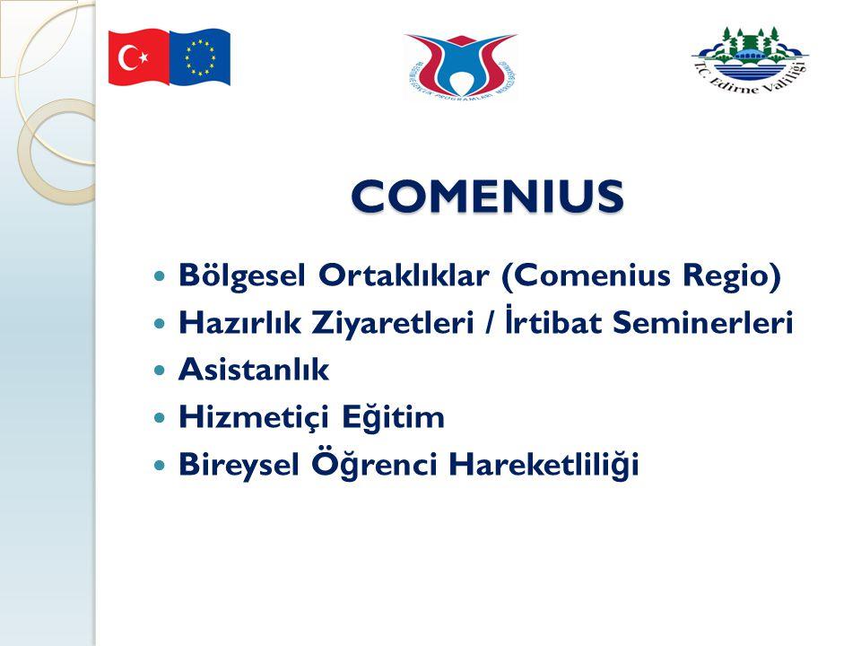 COMENIUS Bölgesel Ortaklıklar (Comenius Regio) Hazırlık Ziyaretleri / İ rtibat Seminerleri Asistanlık Hizmetiçi E ğ itim Bireysel Ö ğ renci Hareketlil