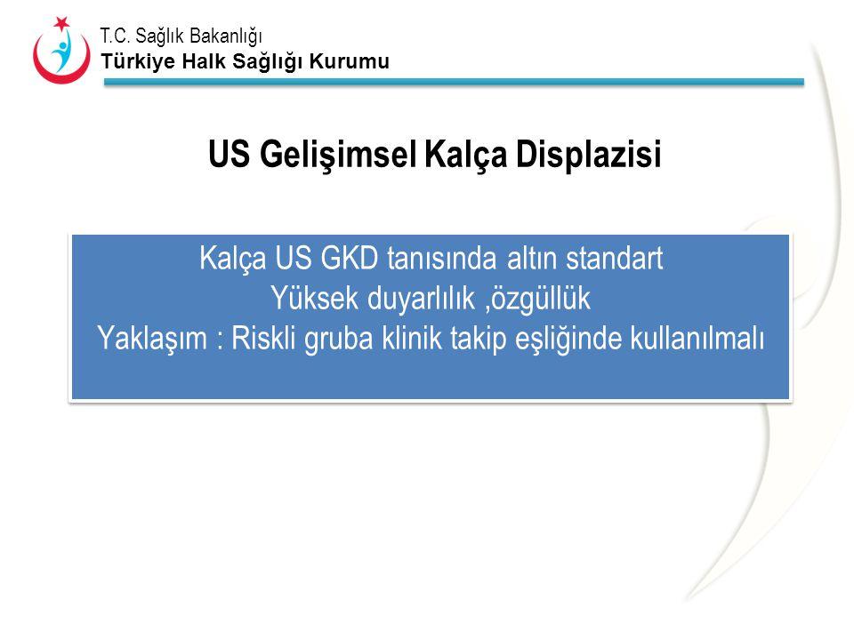 T.C. Sağlık Bakanlığı Türkiye Halk Sağlığı Kurumu US Gelişimsel Kalça Displazisi Kalça US GKD tanısında altın standart Yüksek duyarlılık,özgüllük Yakl