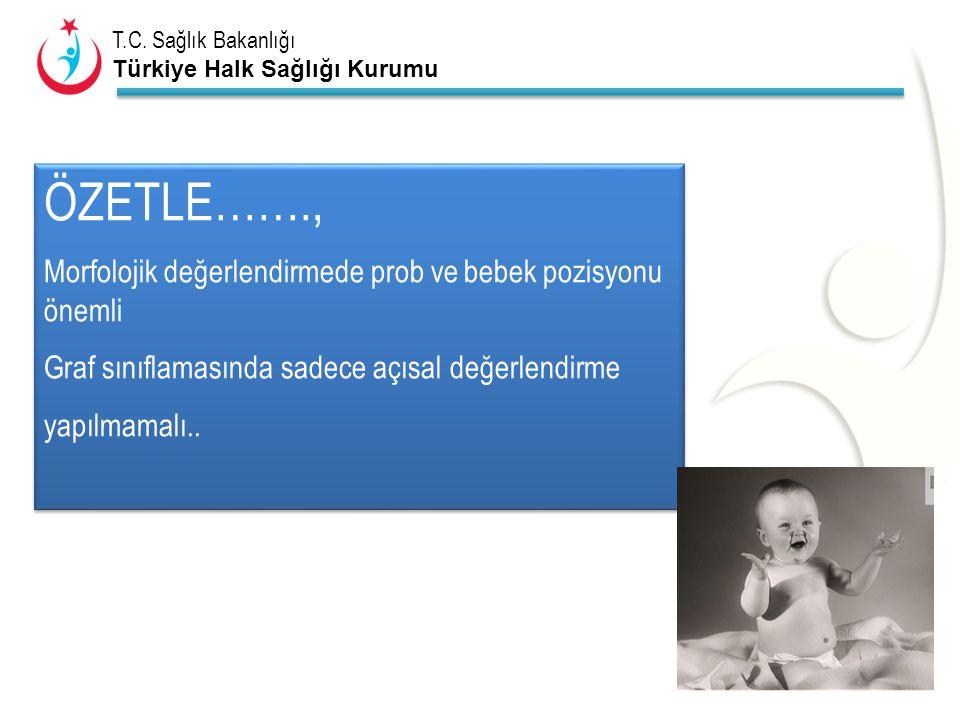 T.C. Sağlık Bakanlığı Türkiye Halk Sağlığı Kurumu ÖZETLE……., Morfolojik değerlendirmede prob ve bebek pozisyonu önemli Graf sınıflamasında sadece açıs
