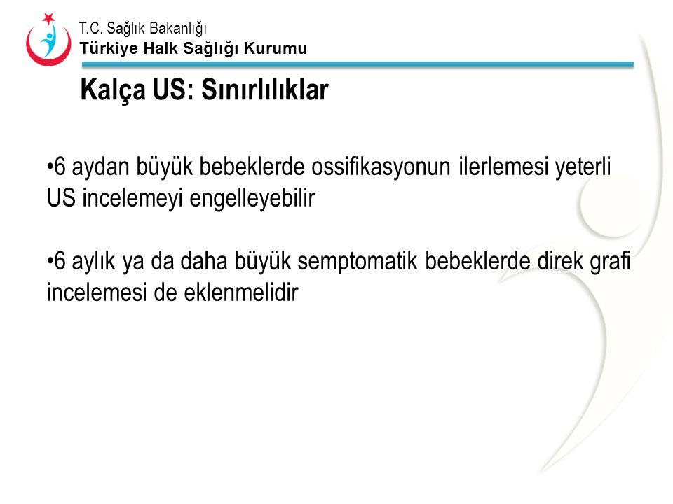 T.C. Sağlık Bakanlığı Türkiye Halk Sağlığı Kurumu Kalça US: Sınırlılıklar 6 aydan büyük bebeklerde ossifikasyonun ilerlemesi yeterli US incelemeyi eng