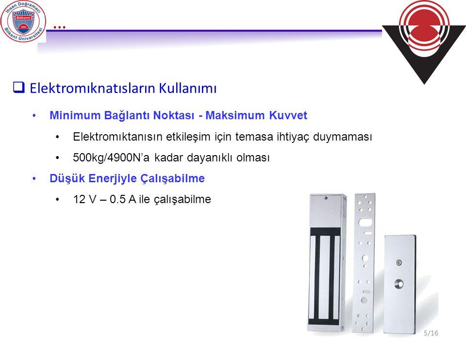 …  Elektromıknatısların Kullanımı Minimum Bağlantı Noktası - Maksimum Kuvvet Elektromıktanısın etkileşim için temasa ihtiyaç duymaması 500kg/4900N'a