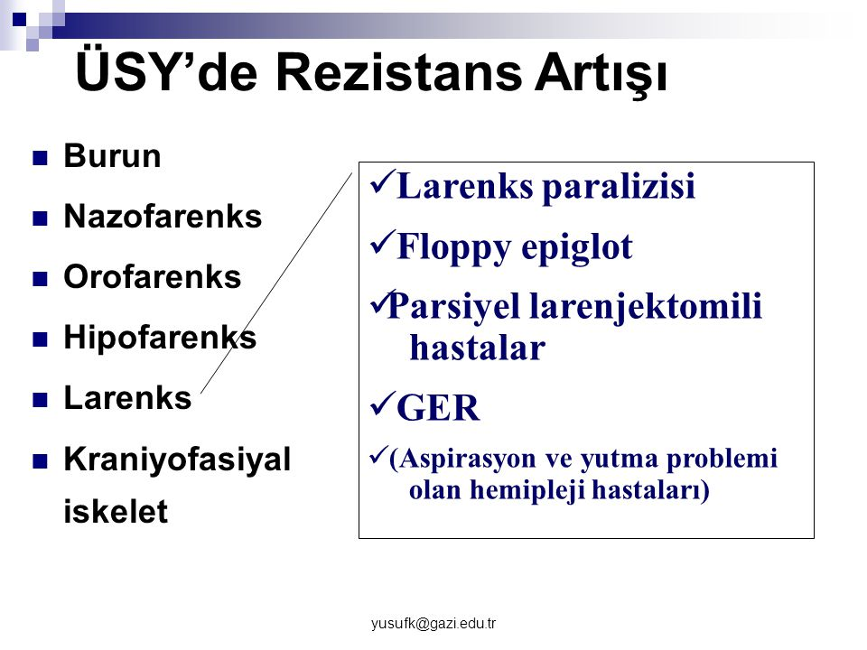 yusufk@gazi.edu.tr ÜSY'de Rezistans Artışı Burun Nazofarenks Orofarenks Hipofarenks Larenks Kraniyofasiyal iskelet Larenks paralizisi Floppy epiglot P