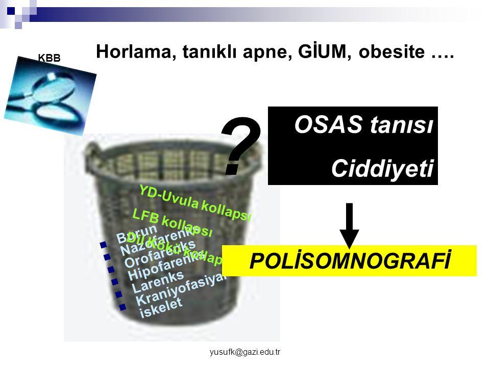 yusufk@gazi.edu.tr Burun Nazofarenks Orofarenks Hipofarenks Larenks Kraniyofasiyal iskelet YD-Uvula kollapsı LFB kollapsı Dil Kökü kollapsı OSAS tanıs