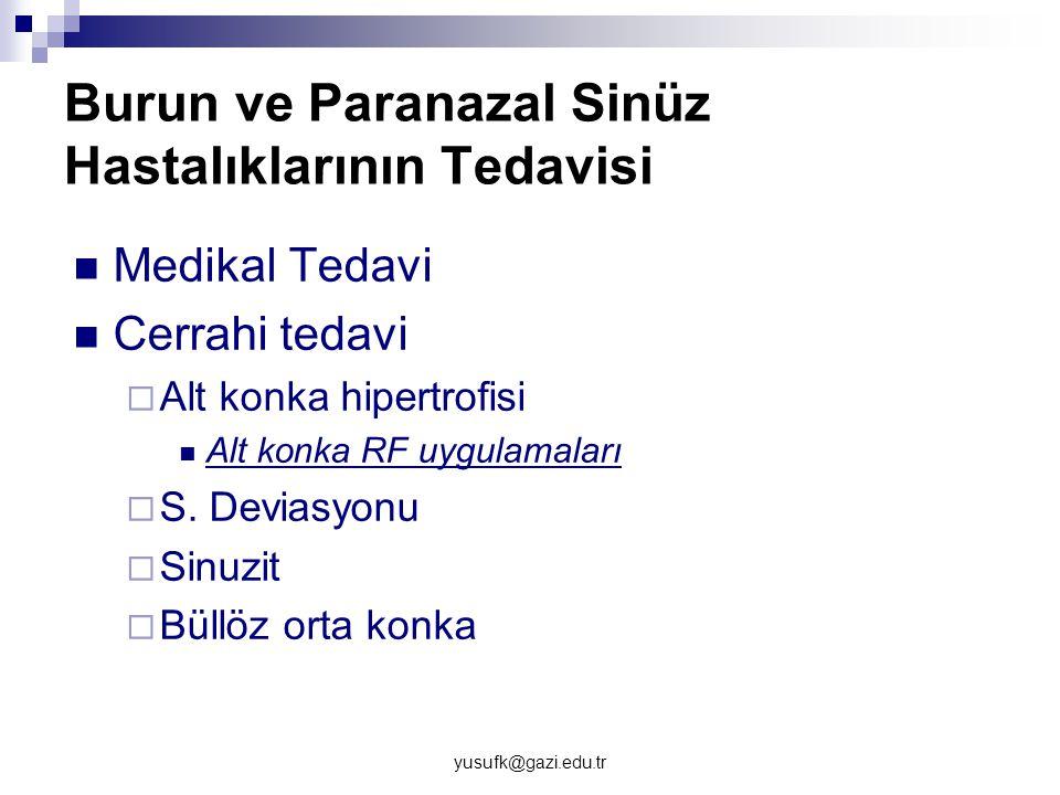 yusufk@gazi.edu.tr Burun ve Paranazal Sinüz Hastalıklarının Tedavisi Medikal Tedavi Cerrahi tedavi  Alt konka hipertrofisi Alt konka RF uygulamaları