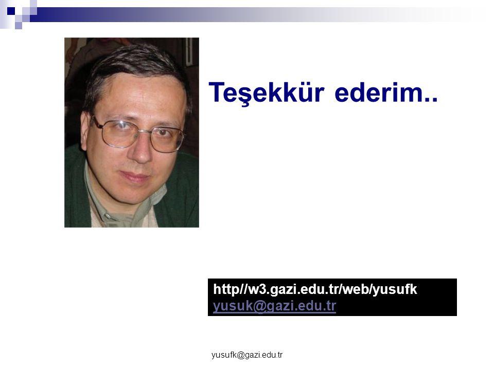 yusufk@gazi.edu.tr Teşekkür ederim.. http//w3.gazi.edu.tr/web/yusufk yusuk@gazi.edu.tr