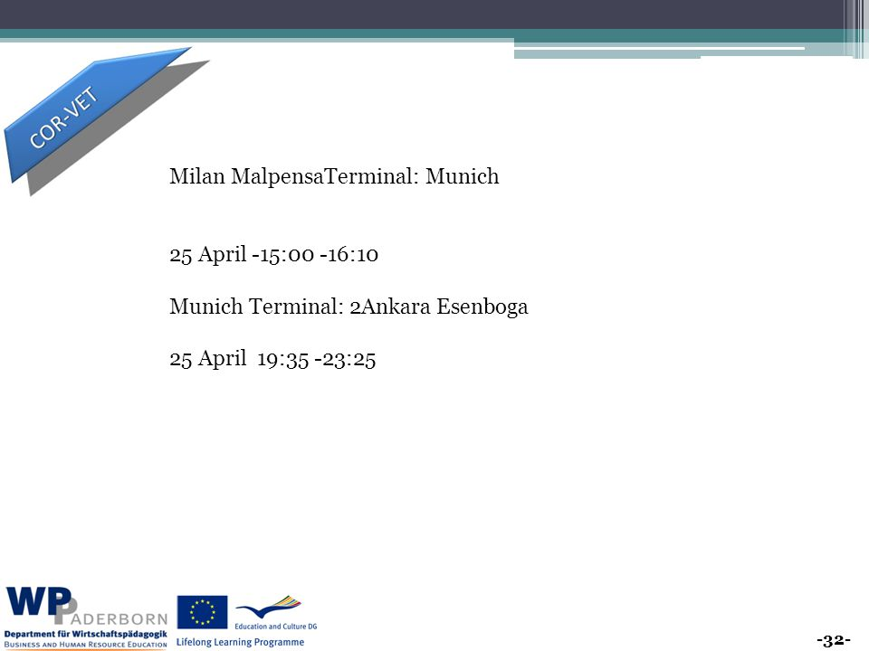 -32- Milan MalpensaTerminal: Munich 25 April -15:00 -16:10 Munich Terminal: 2Ankara Esenboga 25 April 19:35 -23:25