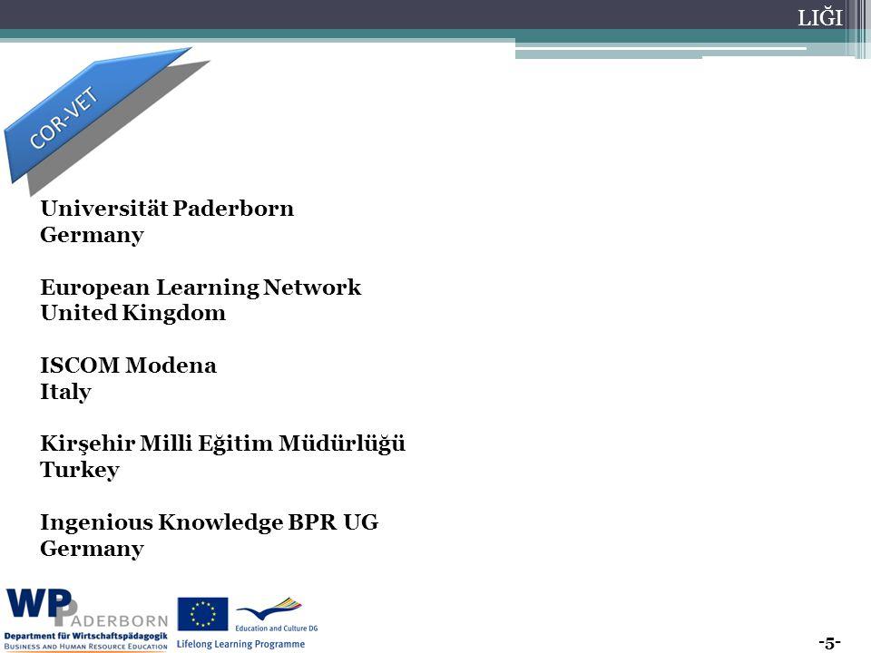 -5- AVR UPA BİRL İĞİ EĞİT İM VE GEN ÇLİK PRO GRA MLA RI MER KEZİ BAŞ KAN LIĞI Universität Paderborn Germany European Learning Network United Kingdom ISCOM Modena Italy Kirşehir Milli Eğitim Müdürlüğü Turkey Ingenious Knowledge BPR UG Germany
