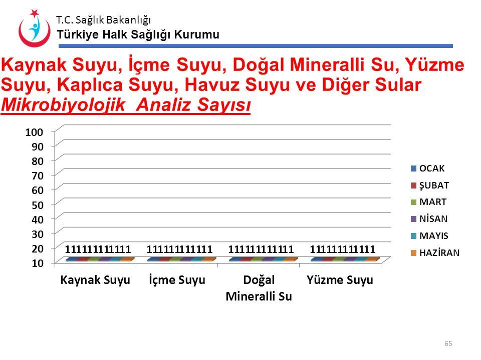 T.C. Sağlık Bakanlığı Türkiye Halk Sağlığı Kurumu İÇME VE KULLANMA SUYU KİMYASAL VE MİKROBİYOLOJİK ANALİZ SAYISI Kimyasal Mikrobiyolojik 64