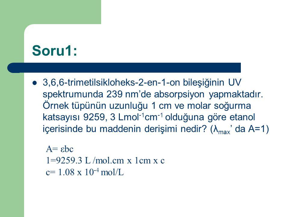 Soru1: 3,6,6-trimetilsikloheks-2-en-1-on bileşiğinin UV spektrumunda 239 nm'de absorpsiyon yapmaktadır.